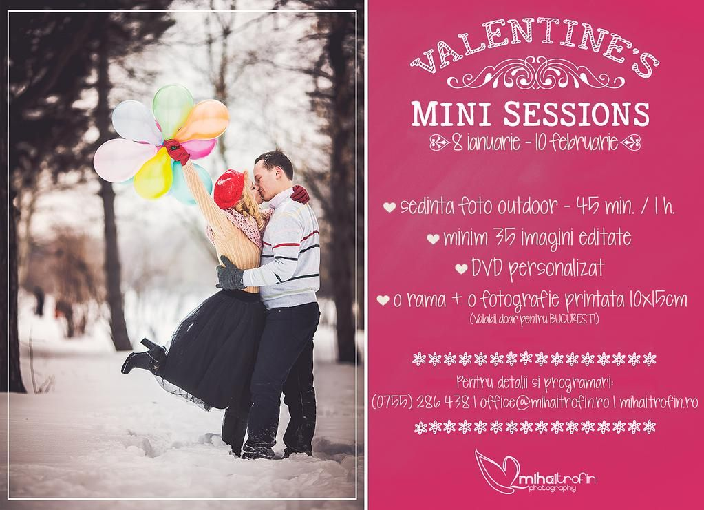 Surprinde-ti jumatatea de Valentine's Day, fa-i cadou o sedinta foto speciala ! Info: (0755) 286 438 | office@mihaitrofin.ro | www.mihaitrofin.ro