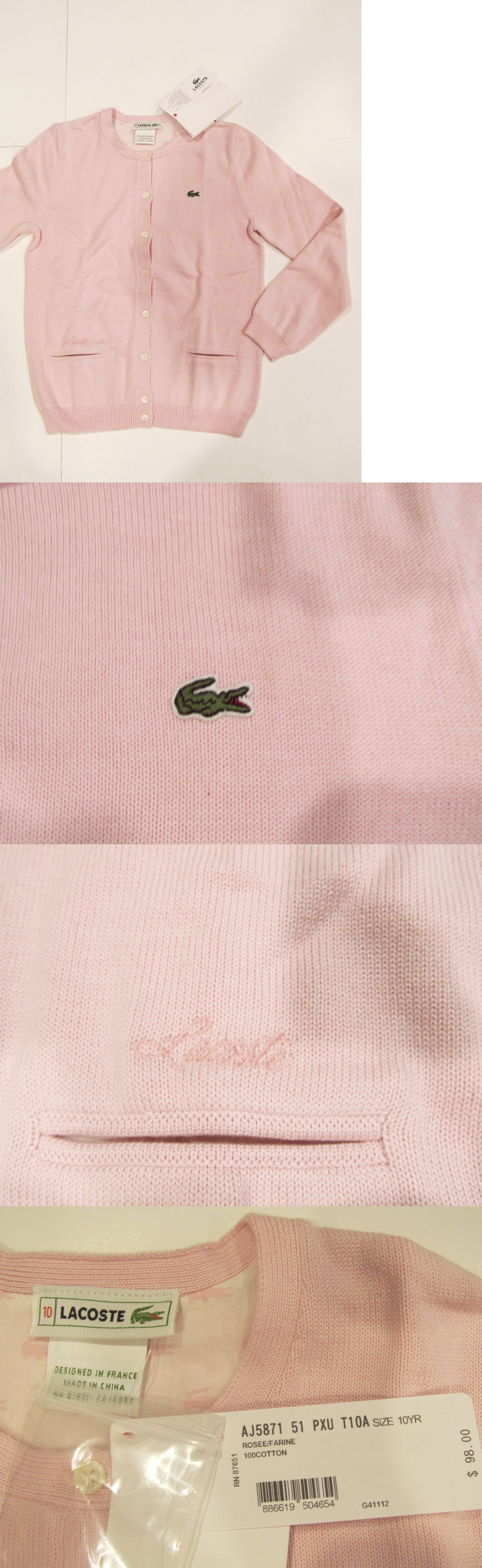Sweaters 51582: New With Tag Nwt Girls Lacoste Pink Longslv Crewneck Cardigan Winter Sweater 12 -> BUY IT NOW ONLY: $39.99 on eBay!