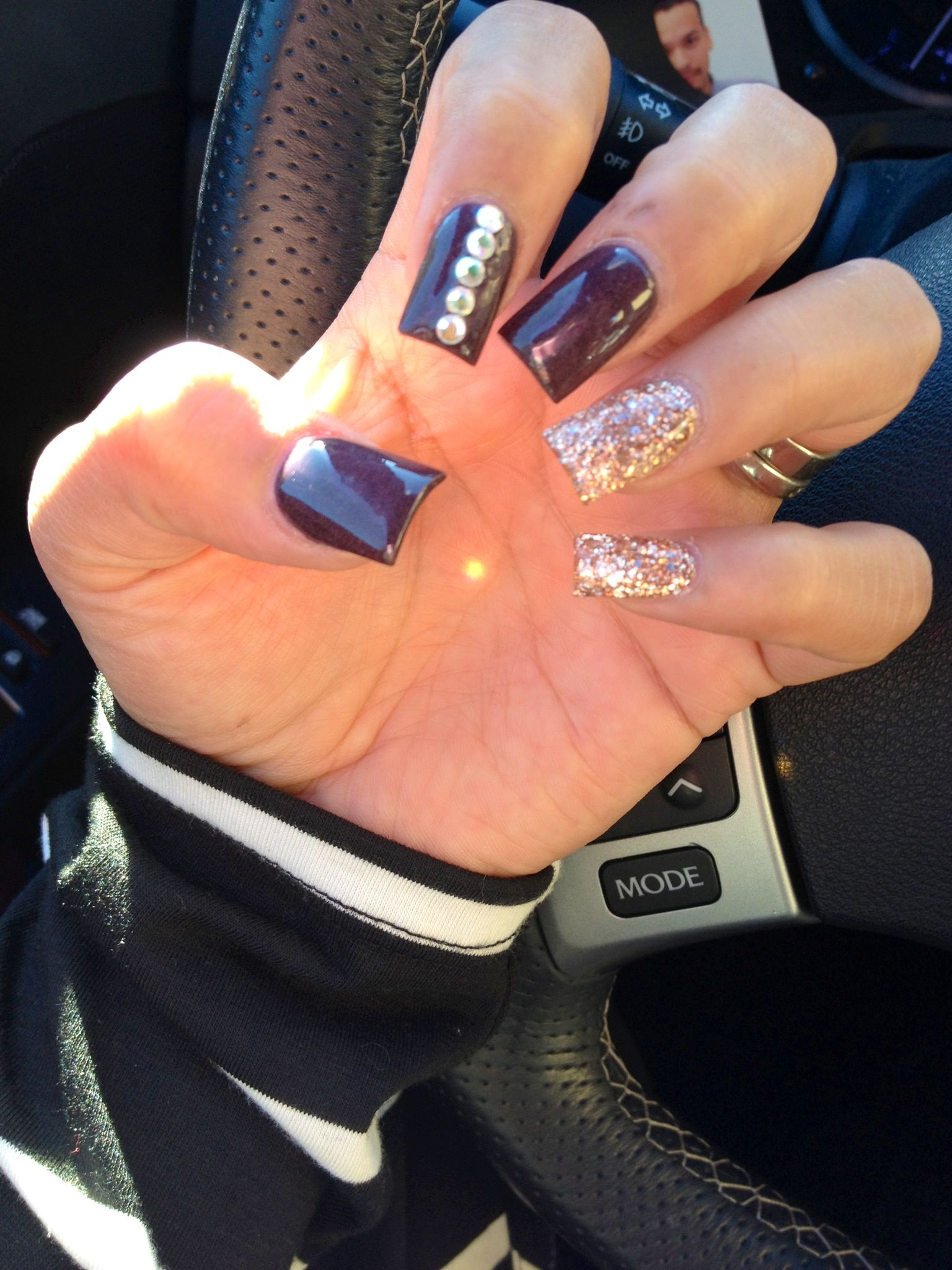 Fall Color Nails Rose Gold Plum Bronze Brown