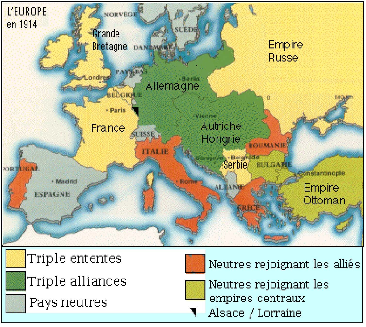 This is a map of europe in 1914 that illistrates the allied forces and the ce