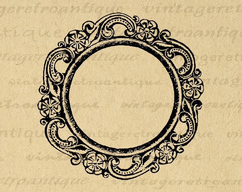 Printable Digital Elegant Circle Frame Graphic Design Illustration Download Image Vintage Clip Art For Transfers 300dpi No 1146 With Images Clip Art Vintage Circle Frames Graphic Design Illustration