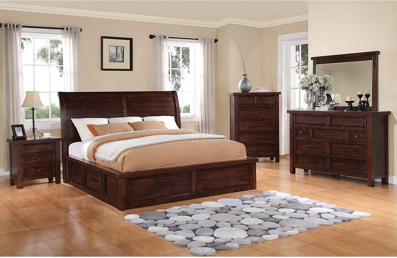Bedroom Furniture Sonoma 5 Piece King Storage Bedroom Set Dark