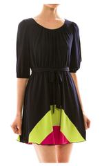 Colorblock Self-Tie Dress