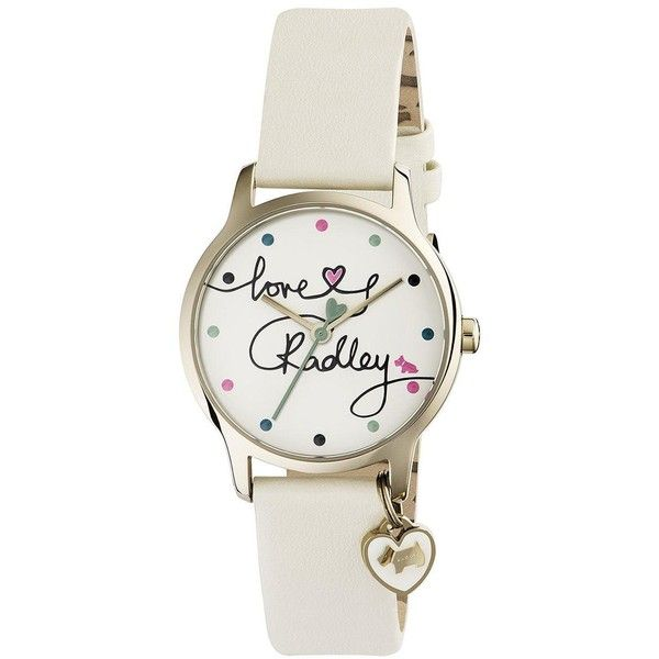 Radley Radley Love Printed Dial Heart Charm White Ladies Watch (875 SEK) ❤ liked on Polyvore featuring jewelry, watches, white watches, leather strap watches, heart-shaped jewelry, white leather strap watches and stainless steel watches