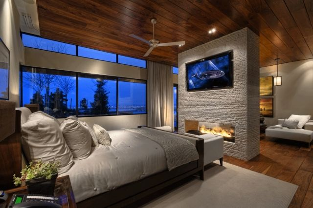 raumteiler schlafzimmer wohnzimmer kamin doppelseitig fernseher - wohnzimmer mit kamin bilder