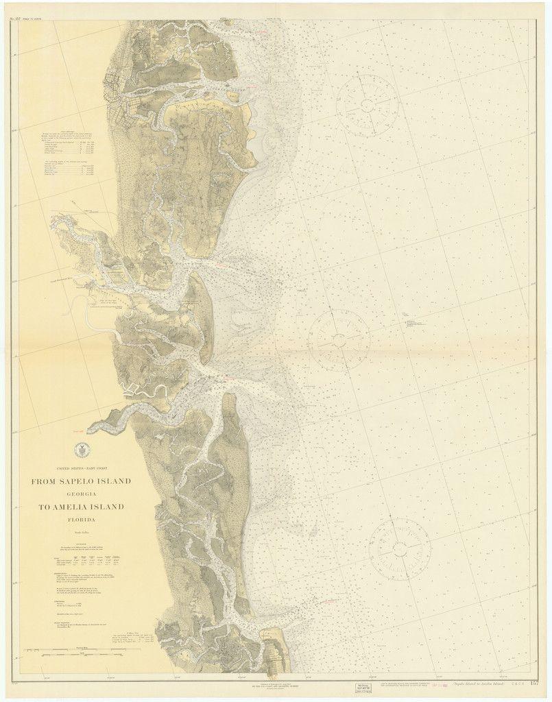 Sapelo Island to Amelia Island Historical Map 1922