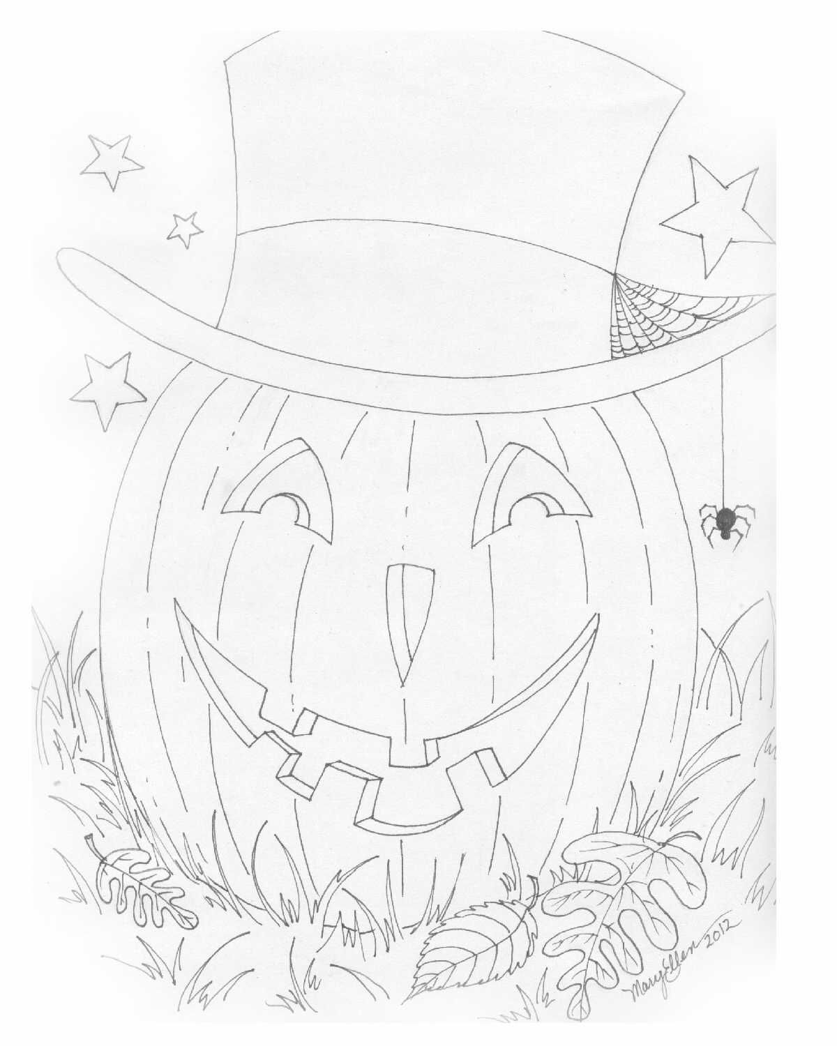 A coloring page for you, by me! Happy Halloween! (Please use for ...