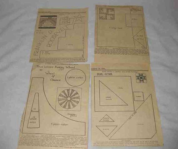 Lot 13 Vintage 1930s Quilt Patterns Newspaper By Badoodly