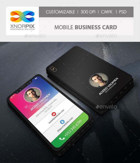 Mobile business card pinterest mobile business business cards iphone x mobile business card template psd flashek