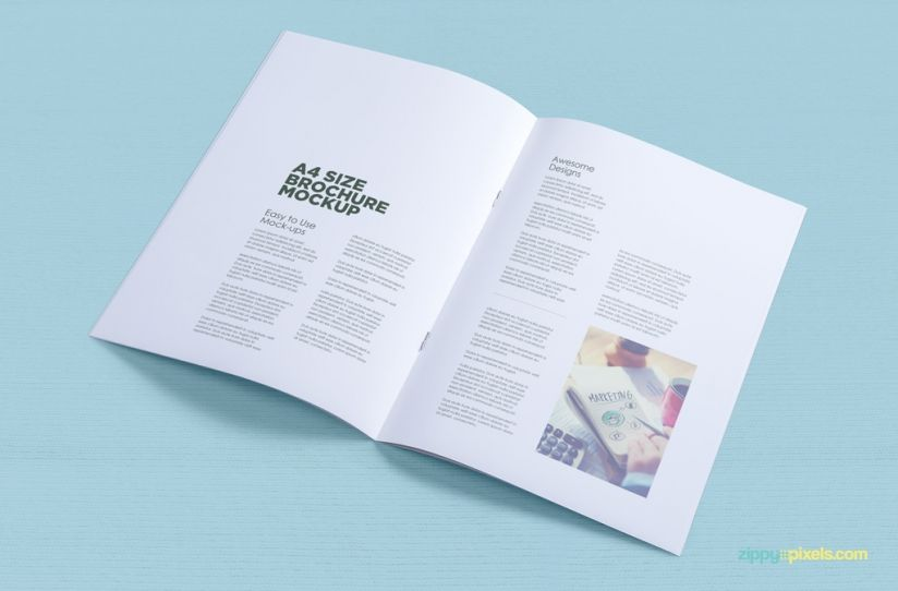 Free A4 Brochure Mockup ZippyPixels mock up Free mock-up - free pamphlet