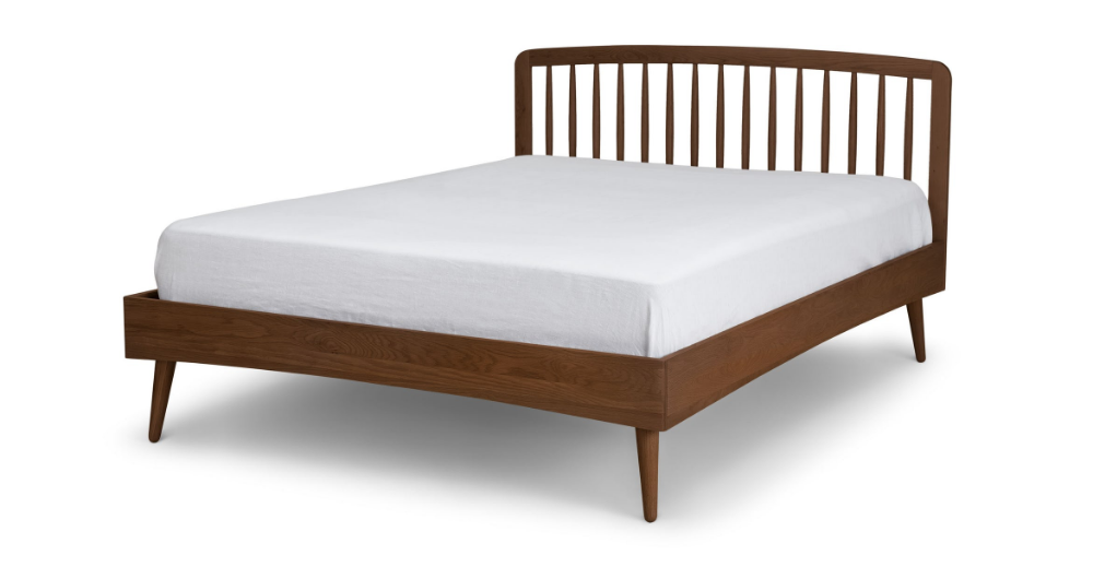 Best Culla Spindle Walnut King Bed With Images Mid Century 400 x 300