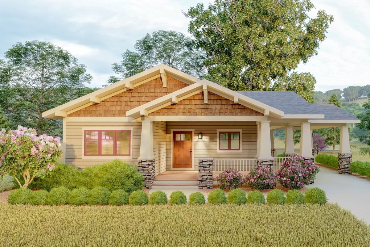 Plan 18300be Delightful 2 Bed Space Saving Bungalow House Plan Bungalow House Plans Craftsman House Architectural Design House Plans