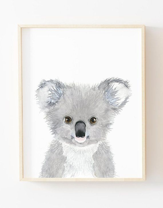 Watercolor Koala Nursey Print Australian Animals Nursery Koala