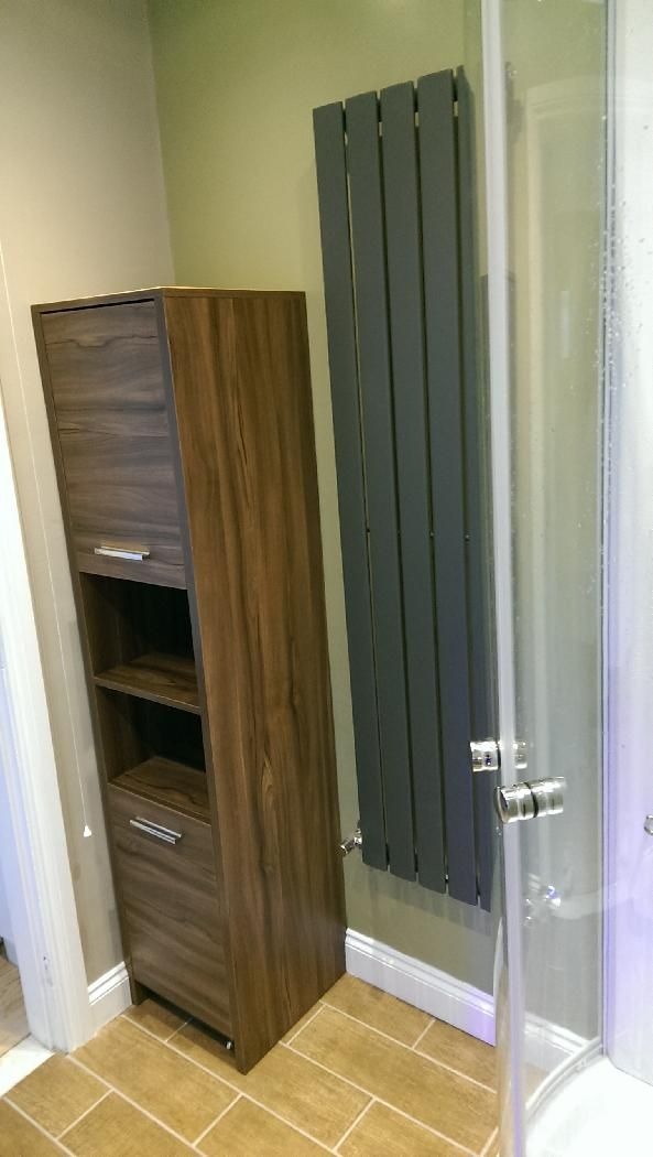 #VPShareYourStyle Chris from Hull uses a tall wooden storage cabinet to save space in his bathroom.