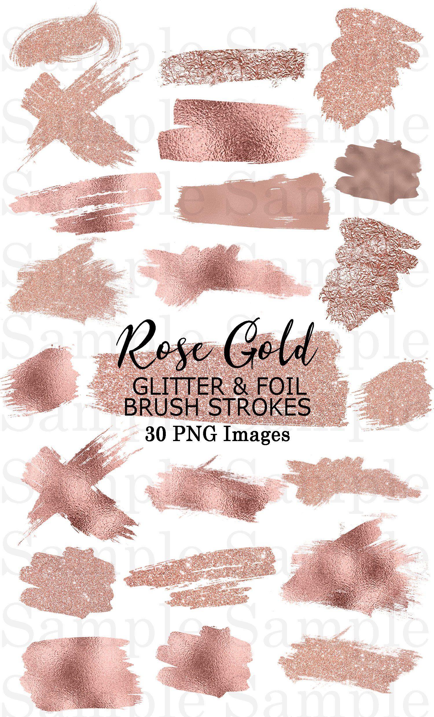 Rose Gold Foil And Glitter Brush Strokes Clip Art 40 Hand Etsy In 2021 Brush Strokes Rose Gold Foil Rose Gold Wallpaper