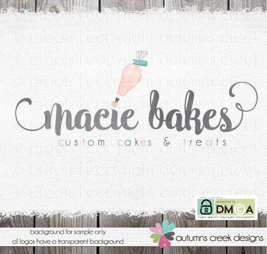 premade logo  piping logo  bakery logo design  by autumnscreek