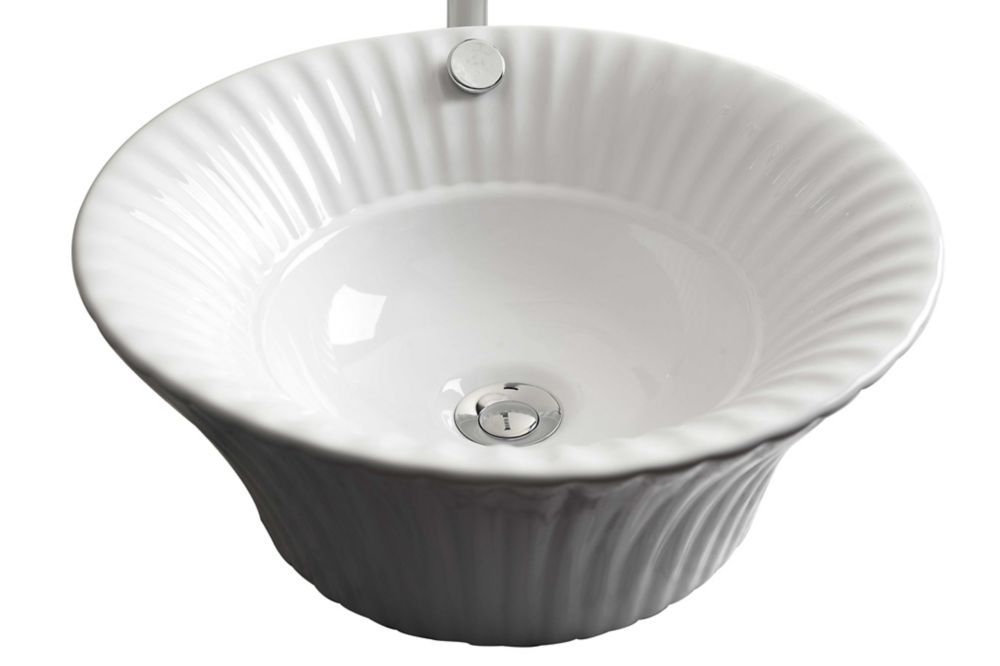 17 Inch W X 17 Inch D Round Vessel Sink In White With Chrome