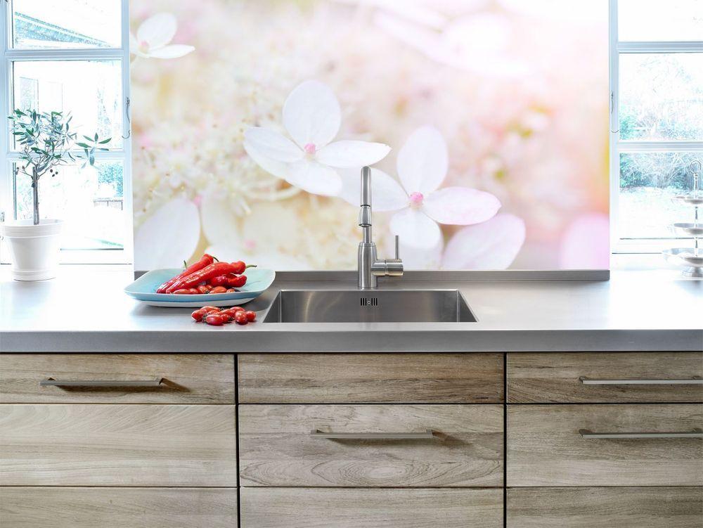 Küchenrückwand blüten sicherheitsglas fliesenspiegel spritzschutz küche in möbel wohnen komplett küchen
