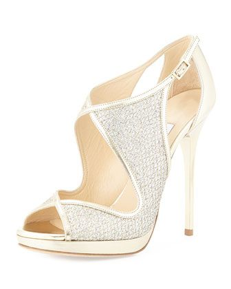 Leondra Crystal-Embellished Evening Sandal,  Champagne by Jimmy Choo at Neiman Marcus. $895.00