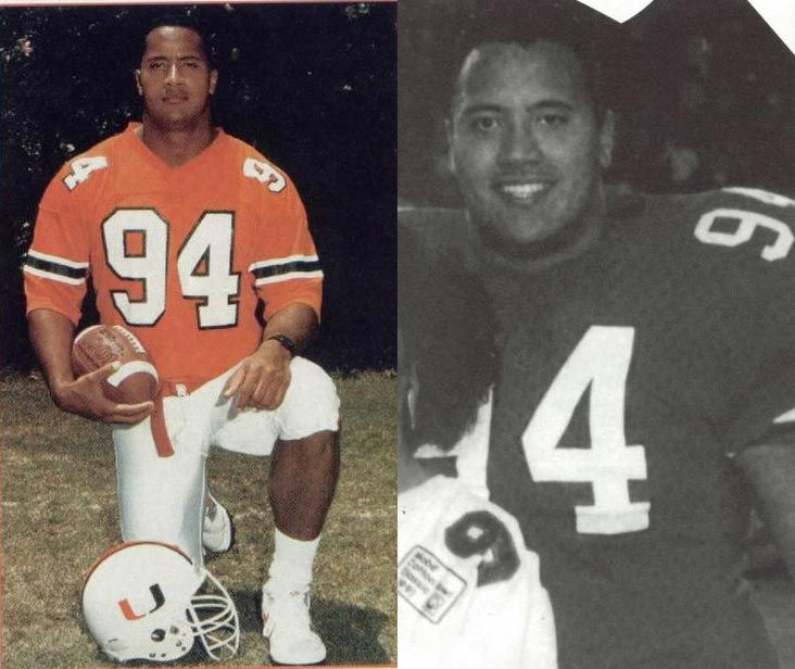 Dwayne johnson the rock in college at the university of