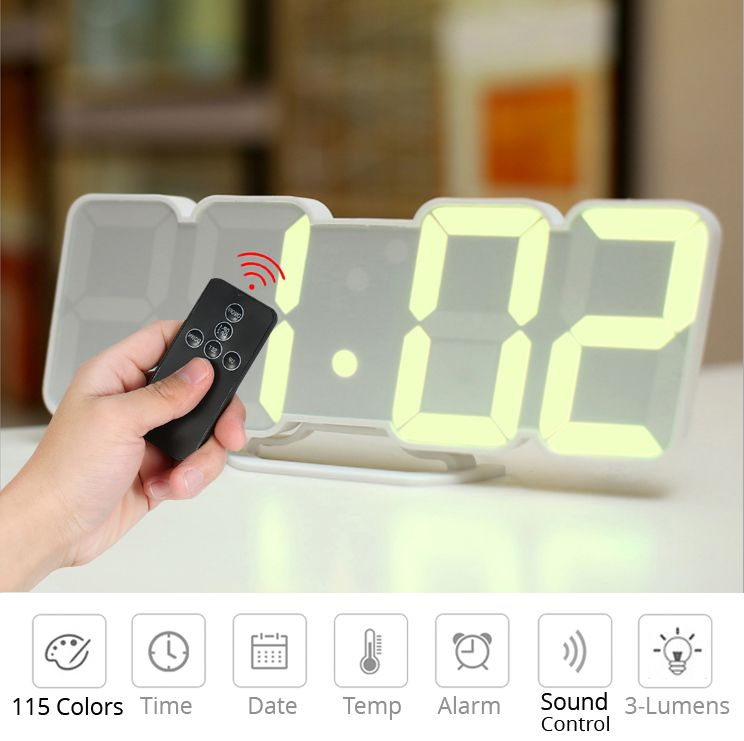 Digital Time Alarm Clock Led Wall Clock With 115 Colors Remote Control Digital Watch Night Light Magic Desktop Table Led Wall Clock Alarm Clock Led Alarm Clock