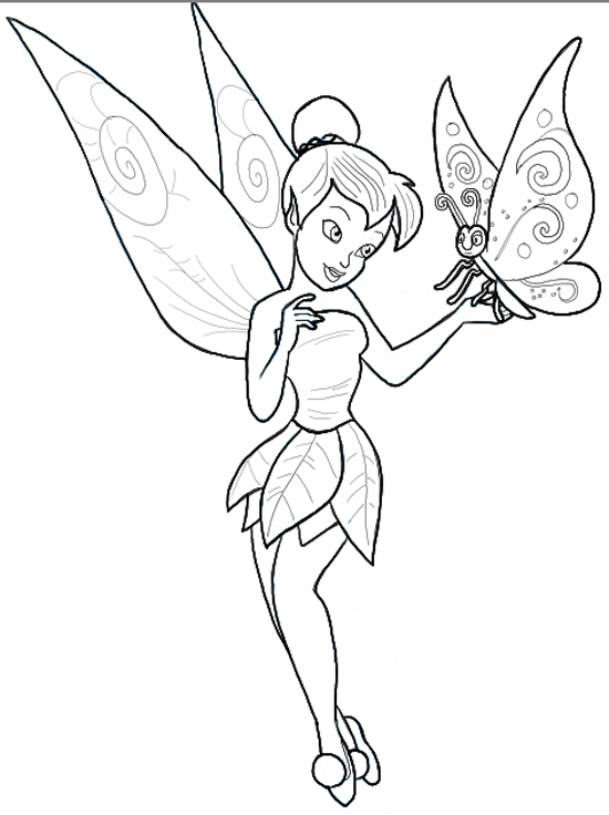 how to draw tinkerbell holding a butterfly with easy to follow steps