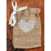 """Burlap Favor Bags with twine drawstring closure and white ribbon - perfect for a rustic or """"green"""" wedding!"""