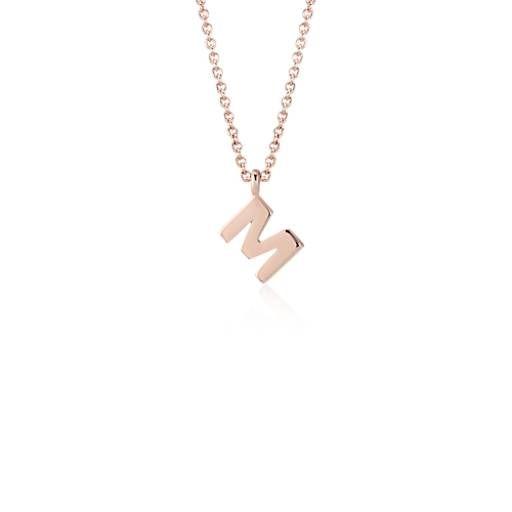 """M"" Mini Initial Pendant in 14k Rose Gold"