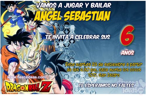 Invitaciones De Dragon Ball Z Personalizadas Para Imprimir