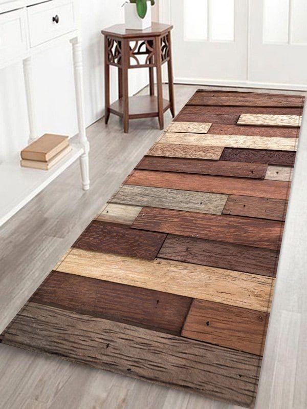 Wooden Combination Printed Anti Slid Floor Area Rug Multicolor W24 Inch L71