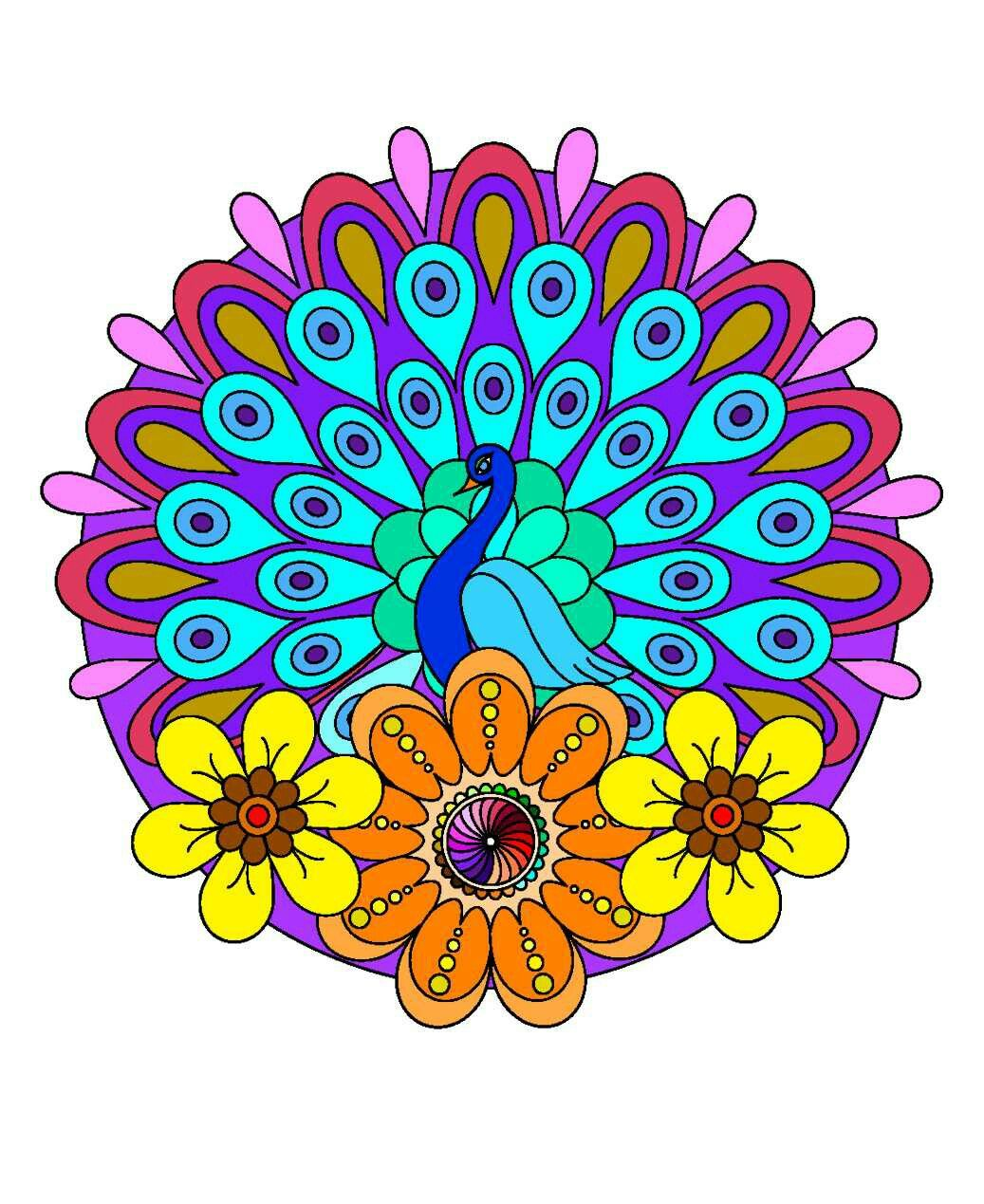 Pavo Real   Mandala coloring book   Pinterest   Colorear
