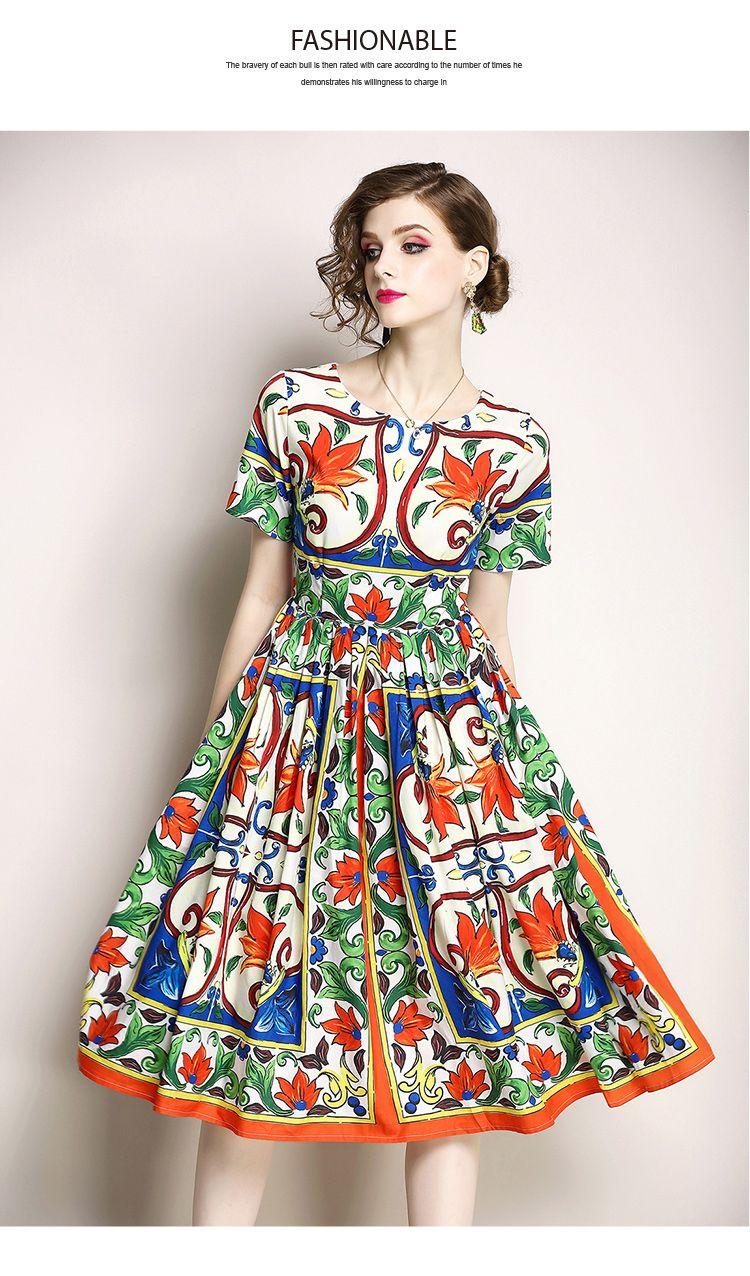 Round Neckline Printed Vintage Midi Dress Uniqistic Com Vintage Midi Dresses Vintage Print Dress Summer Dresses For Women [ 1276 x 750 Pixel ]