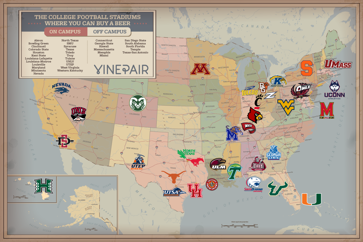 MAP Every College Football Stadium Where You Can Buy A Beer