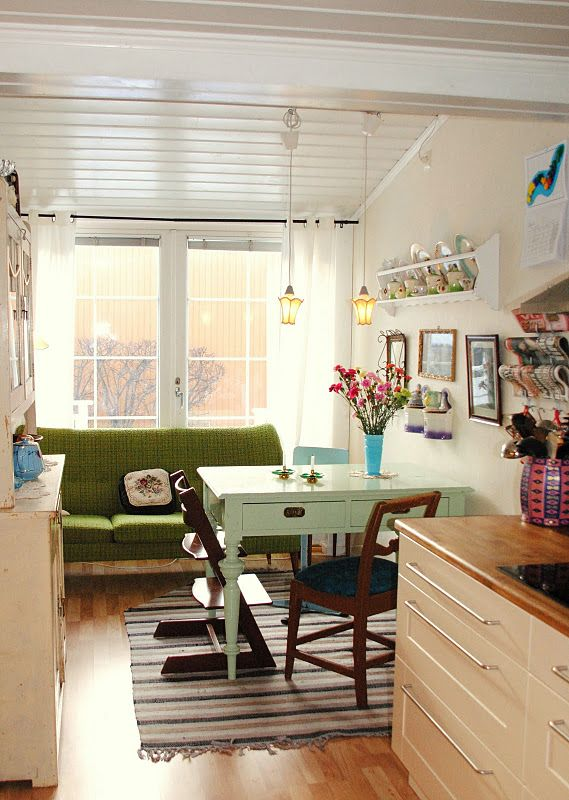 old desk as dining table