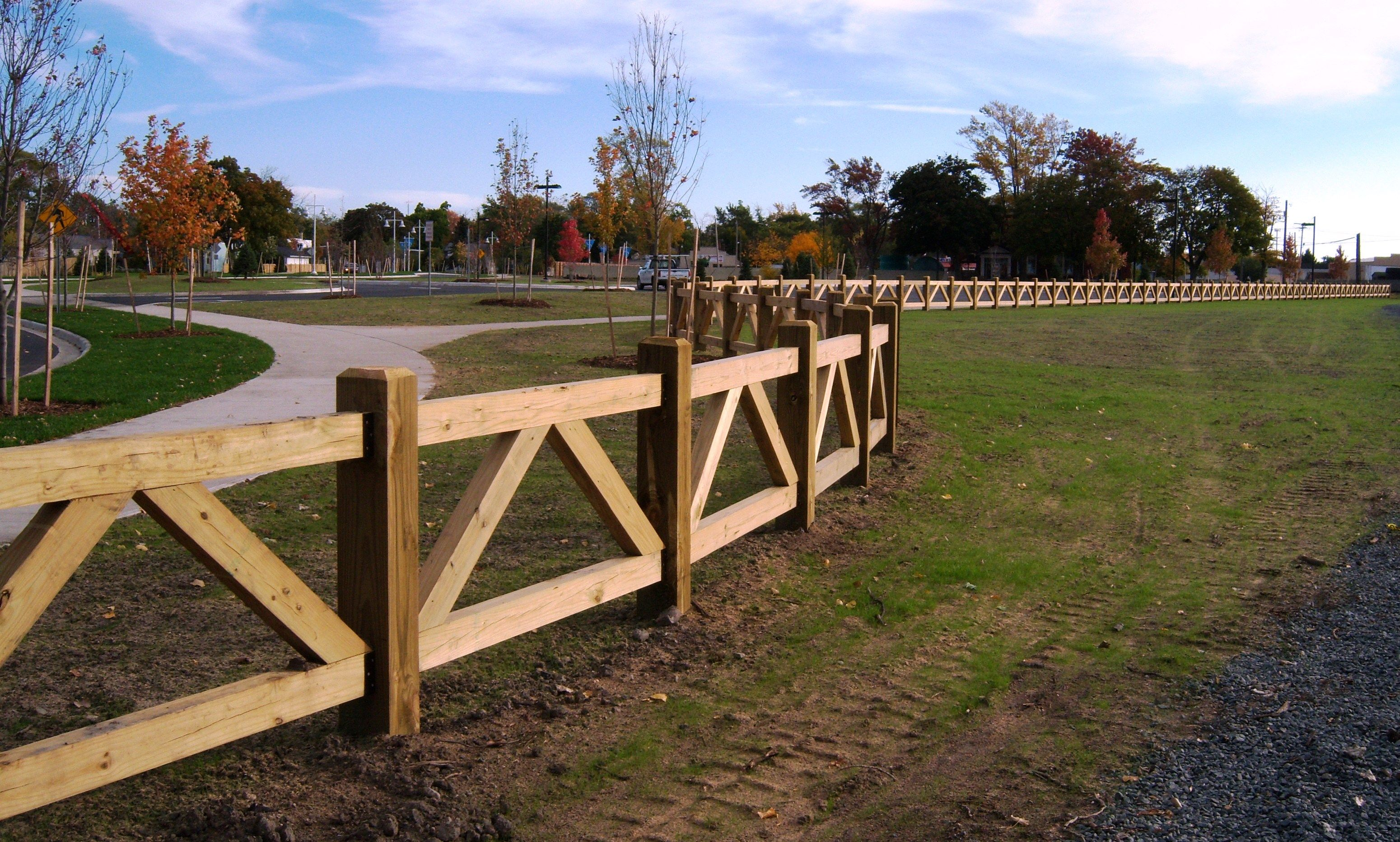 custom wood farm fence around park | Gardening & Back Yard Ideas ...