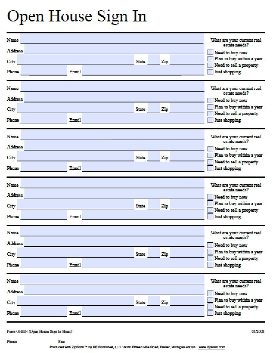 Pagehistorywikis  Fillable Open House SignIn Sheet  Pdf  Word