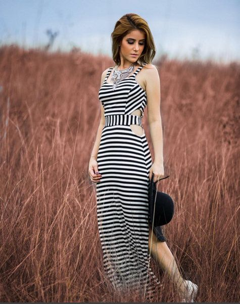 127305ba71 vestido-longo-listras-preto-branco-recorte-navy-tendência-marinheiro ...