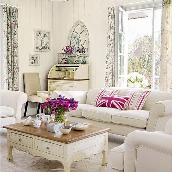Wohnideen Wohnzimmer-weiß pink-Shabby chic Haus Pinterest - wohnzimmer landhausstil weiß