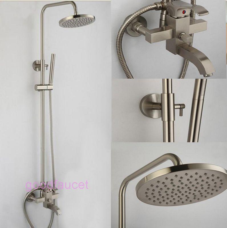 Brushed Nickel Shower Head Set Shower Faucet Bathtub Faucet