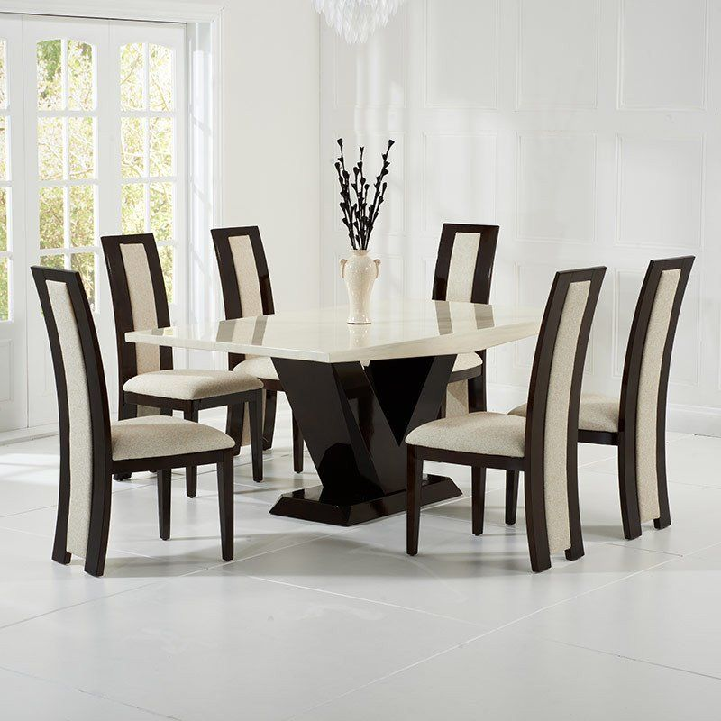 Valencie Creambrown Constituted Marble Dining Table Set 6 Glamorous Marble Dining Room Inspiration Design