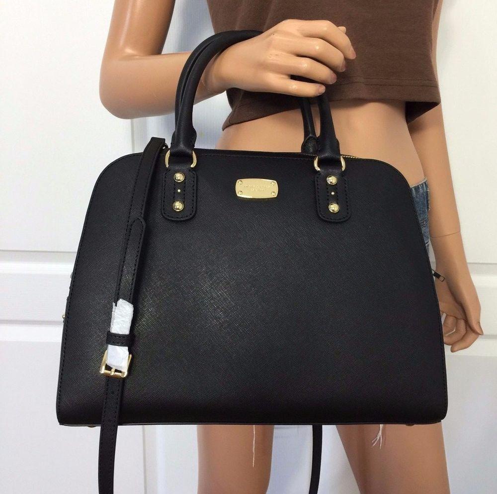 Michael Kors Black Large Satchel Saffiano Leather Signature Shoulder Bag Purse…
