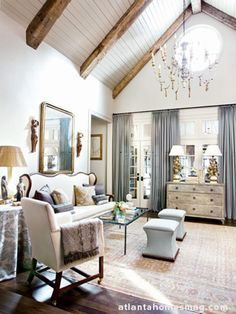 White Wash Ceiling With Wood Beams