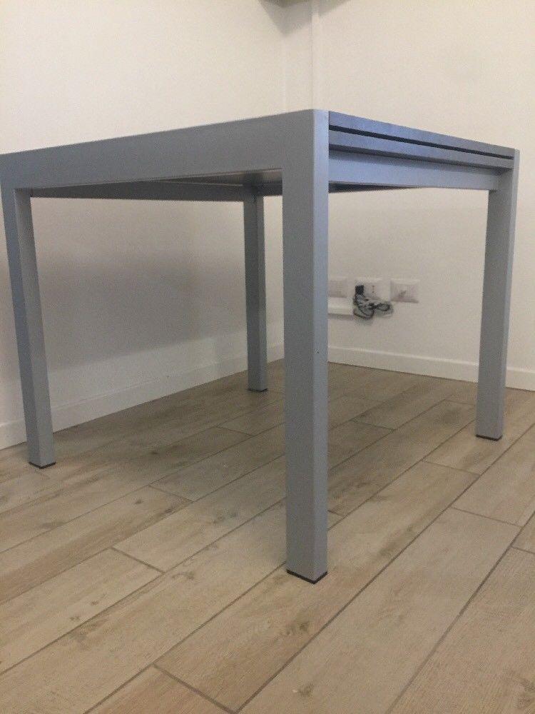 tavolo quadrato allungabile metallo pietra lavica 90x90/180 moderno ...