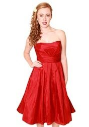 EMBM06 - Strapless dipped base neckline pleated full skirt short bridesmaids dress