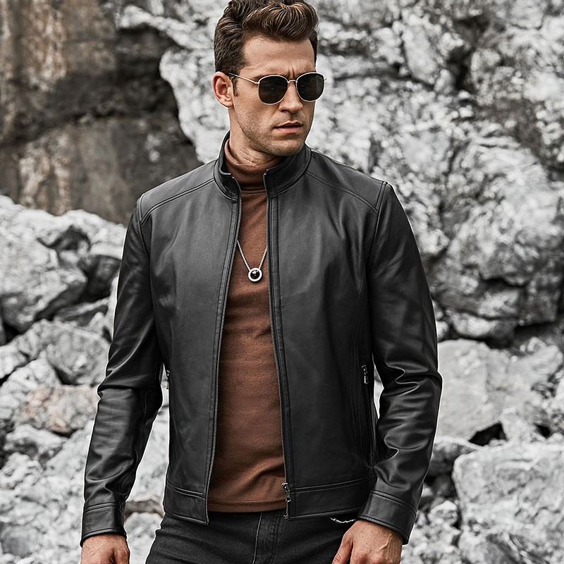Men's Real Black Leather Jacket with Short Standing Collar