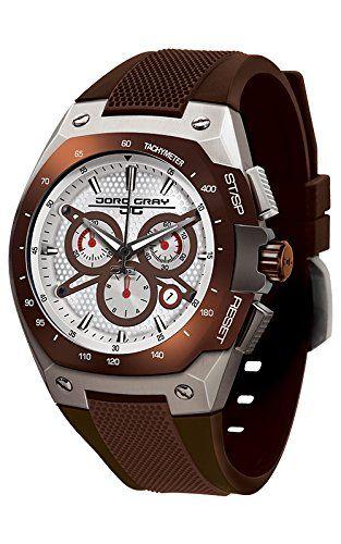 Compra gris reloj infantil de cuarzo para hombre con cronógrafo y marrón correa de goma JG8300-25