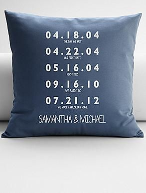 couples key dates throw pillow cover