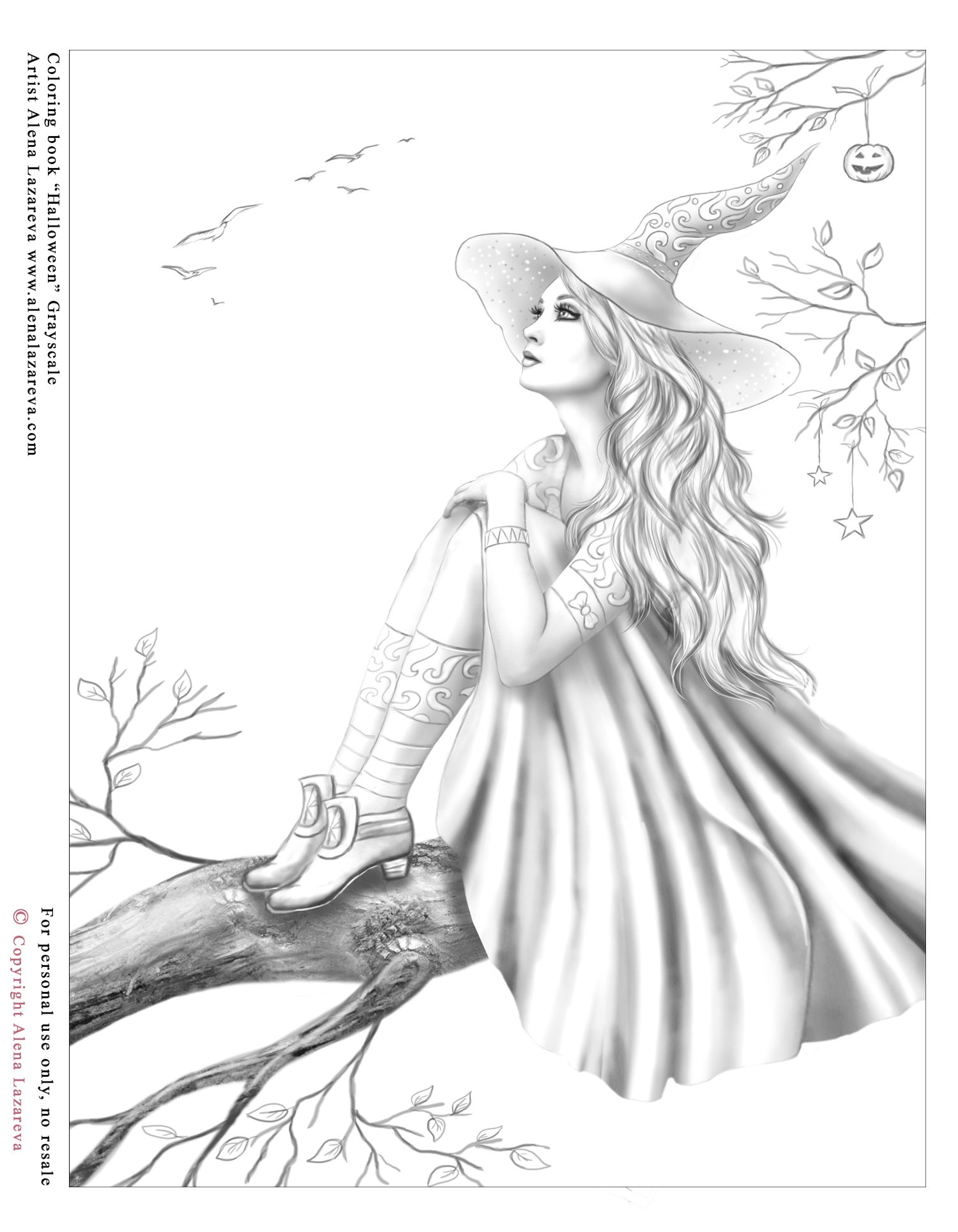 Free Grayscale Coloring Page For Personal Use Only No Resale Free Coloring Page From My Col Grayscale Coloring Grayscale Coloring Books Witch Coloring Pages