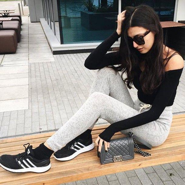Top: tumblr grey sweatpants sweatpants sneakers black sneakers adidas black  long sleeves off the