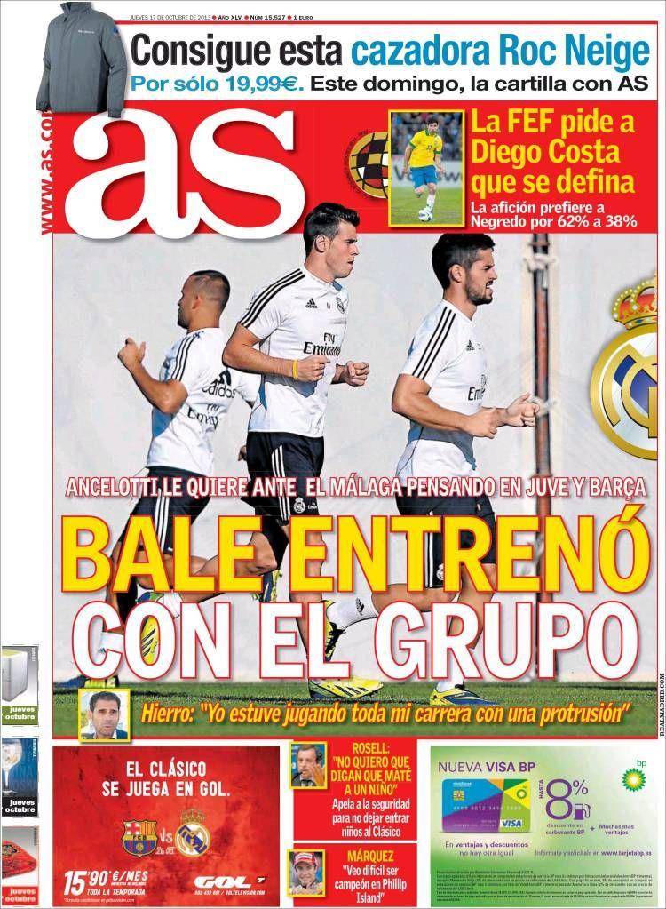 Los Titulares y Portadas de Noticias Destacadas Españolas del 17 de Octubre de 2013 del Diario AS ¿Que le pareció esta Portada de este Diario Español?